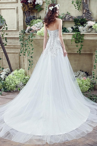 A-line Sequined Lace Tulle Ctystal Wedding Dress_5