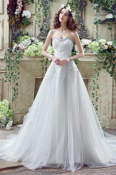 A-line Sequined Lace Tulle Ctystal Wedding Dress_1