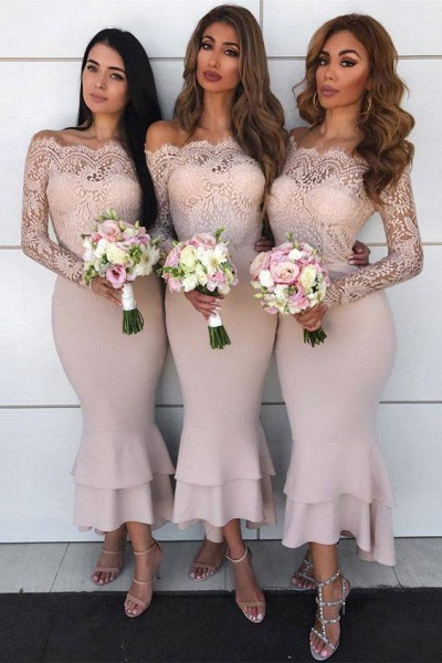 Graceful Lace Long Sleeve Mermaid Bridesmaid Dress_1