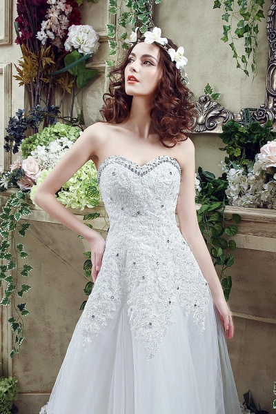 A-line Sequined Lace Tulle Ctystal Wedding Dress_6