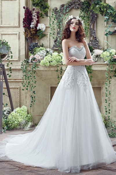 A-line Sequined Lace Tulle Ctystal Wedding Dress_7