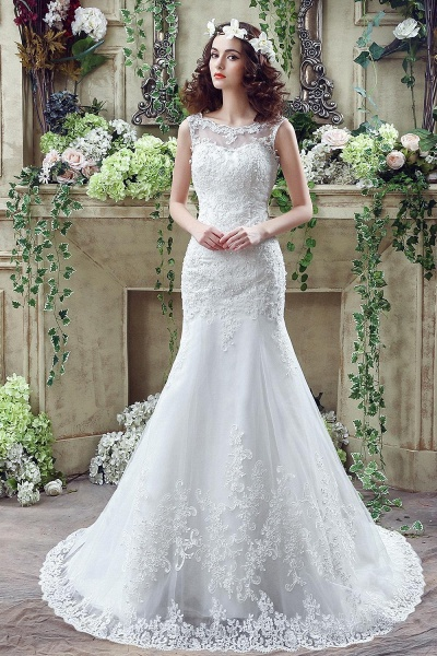 Simple Straps Mermaid Lace Appliques Wedding Dress