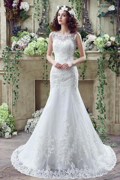 Simple Straps Mermaid Lace Appliques Wedding Dress_1