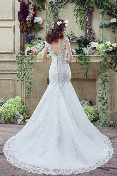 Simple Straps Mermaid Lace Appliques Wedding Dress_5