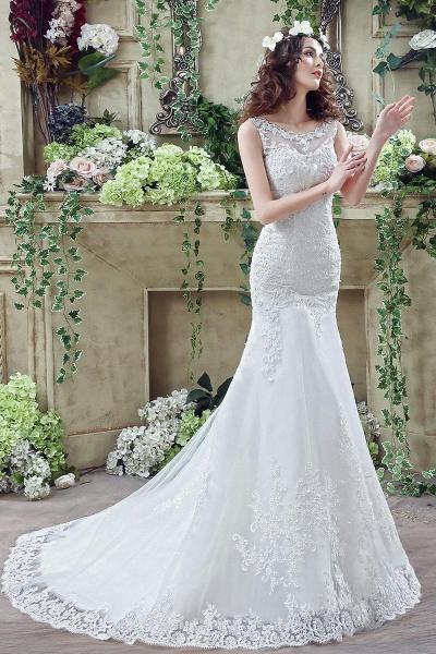 Simple Straps Mermaid Lace Appliques Wedding Dress_7