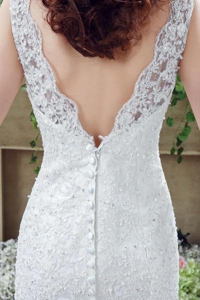 Simple Straps Mermaid Lace Appliques Wedding Dress_4