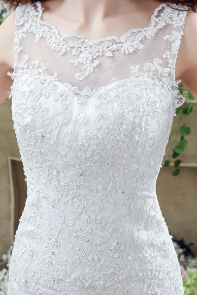 Simple Straps Mermaid Lace Appliques Wedding Dress_3