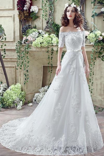 Off-the-shoulder Lace Appliques Bowknot Wedding Dress_7
