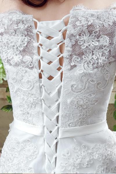 Off-the-shoulder Lace Appliques Bowknot Wedding Dress_4