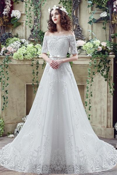Off-the-shoulder Lace Appliques Bowknot Wedding Dress_1