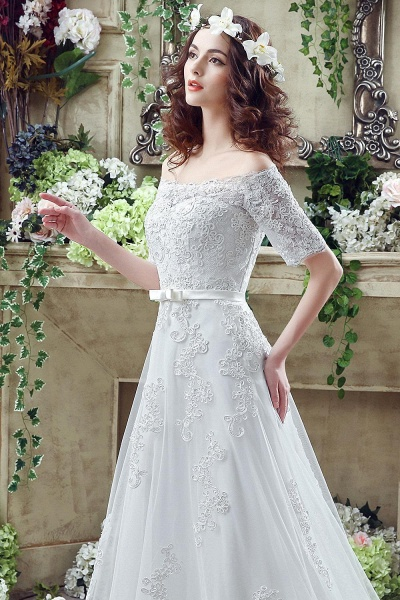 Off-the-shoulder Lace Appliques Bowknot Wedding Dress_6