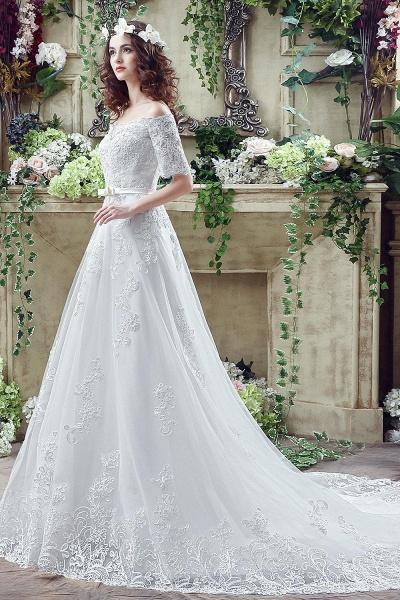 Off-the-shoulder Lace Appliques Bowknot Wedding Dress_3