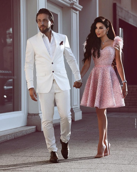 Luxury Pink Short A Line Homecoming Dresses_2