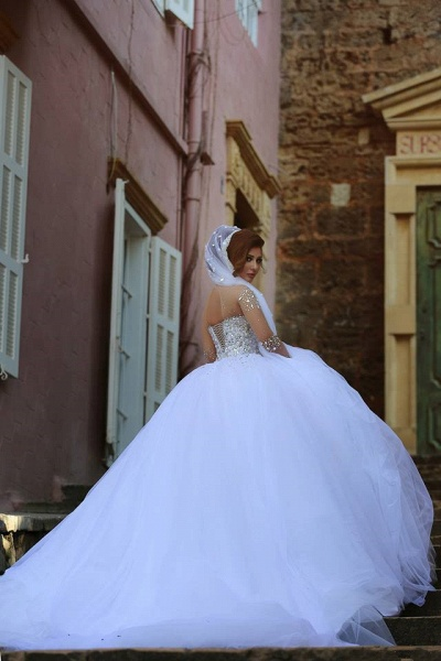 Luxury Long Sleeves Crystals Beading Ball Gown Wedding Dresses_5