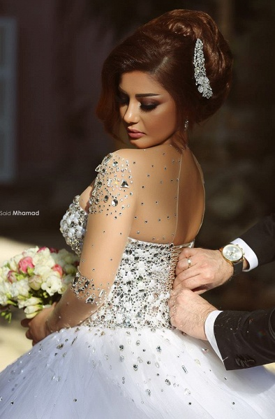 Luxury Long Sleeves Crystals Beading Ball Gown Wedding Dresses_4