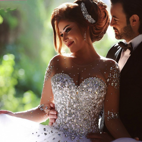 Luxury Long Sleeves Crystals Beading Ball Gown Wedding Dresses_6