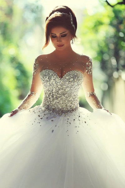 Luxury Long Sleeves Crystals Beading Ball Gown Wedding Dresses