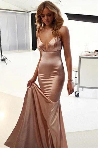 Graceful Open Back Spaghetti Straps Mermaid Evening Dress_3