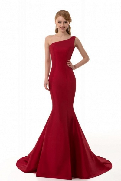 Elegant One Shoulder Satin Mermaid Evening Dress_2