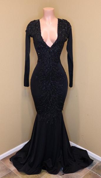 Exquisite V-neck Sequined Mermaid Prom Dress_1