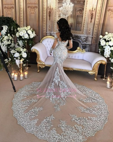 High Neck Long Sleeve Silver Lace Mermaid Luxury Wedding Dresses_6
