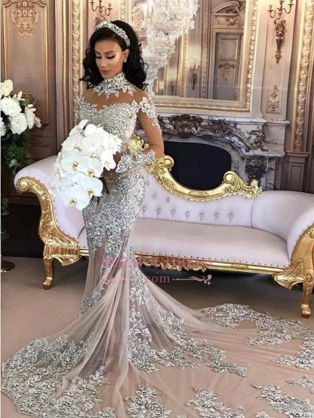 High Neck Long Sleeve Silver Lace Mermaid Luxury Wedding Dresses_2