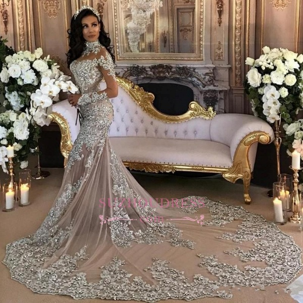 High Neck Long Sleeve Silver Lace Mermaid Luxury Wedding Dresses_5