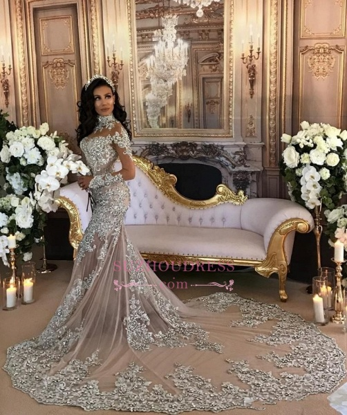 High Neck Long Sleeve Silver Lace Mermaid Luxury Wedding Dresses_1