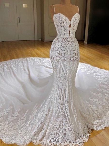 Spaghetti Straps Appliques Sexy Lace Mermaid Wedding Dress_1