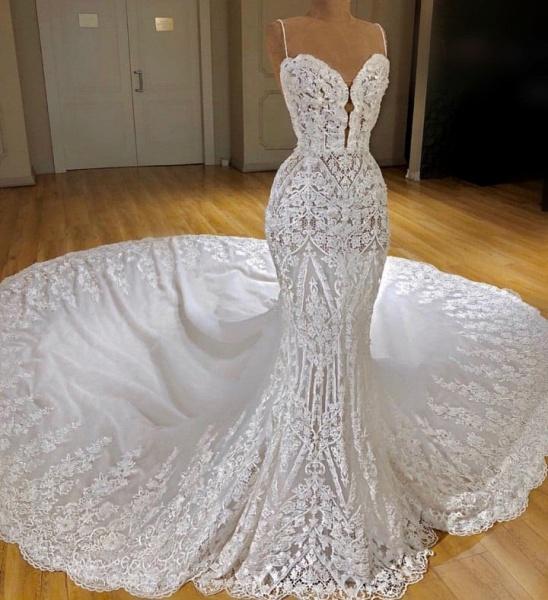 Spaghetti Straps Appliques Sexy Lace Mermaid Wedding Dress_4