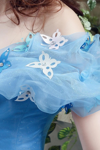 Off-the-Shoulder Sequins Tulle Blue Ball Gown Wedding Dress_6