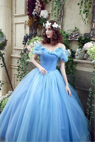 Off-the-Shoulder Sequins Tulle Blue Ball Gown Wedding Dress_7