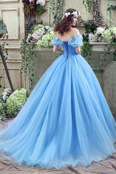 Off-the-Shoulder Sequins Tulle Blue Ball Gown Wedding Dress_5