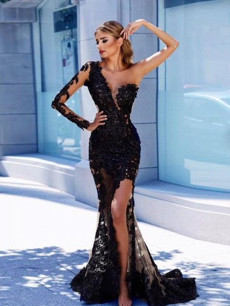 BA9571 Front Split Evening Gown  Black Lace One-Shoulder Prom Dress