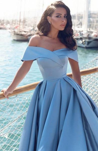 TORRIE | Ball Gown Off-shoulder Floor Length Blue Prom Dresses_2