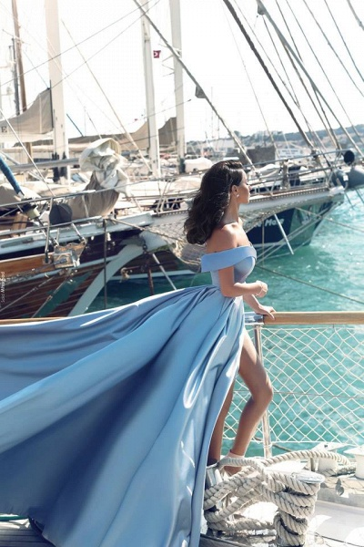 TORRIE | Ball Gown Off-shoulder Floor Length Blue Prom Dresses_3