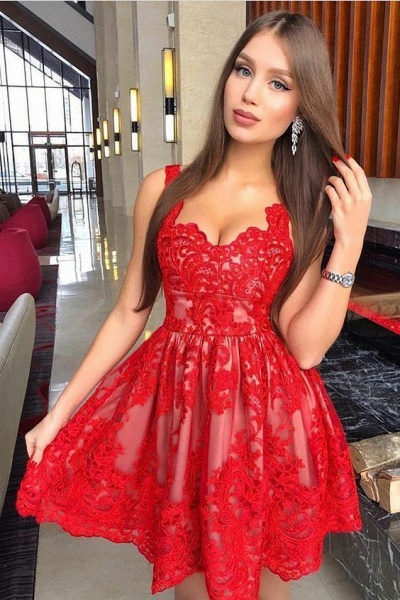 Cheap Short A-line Sweetheart Lace Prom Dresses