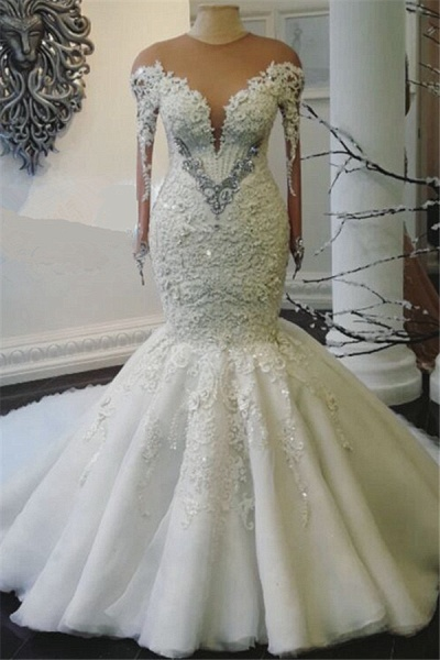 Mermaid Beads Lace Appliques Long Sleeve Wedding Dresses with Overskirt_1